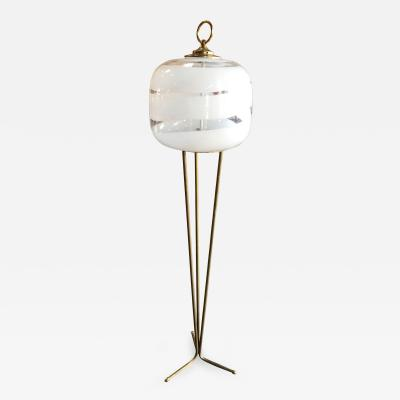Tripod Floor Lamp with White Murano Glass Shade Italy 1960s