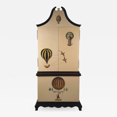 Trompe L oeil Cabinet Embellished with 18th Century Aeronautical Motif