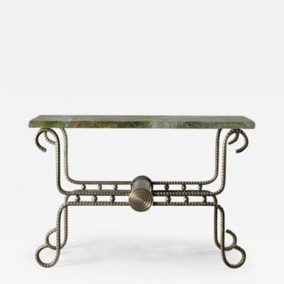 Troy Smith Contemporary Solid Steel and Thick Marble Topped Console