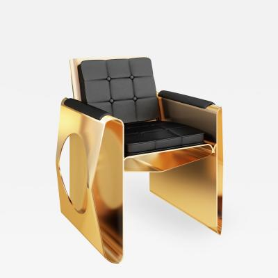 Troy Smith Polished Brass And Black Leather Contemporary Lounge Chair