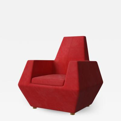 Troy Smith Red Suede Leather Lounge Chair With Brass Feet