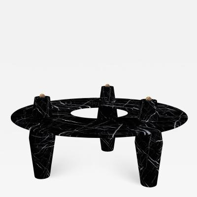 Troy Smith Solid Nero Marquina Marble Coffee Table With Brass Balls