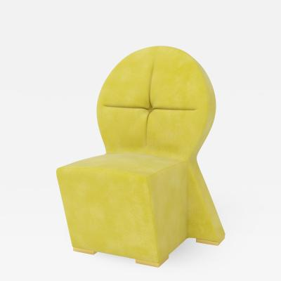 Troy Smith Yellow Velvet Chair With Brass Feet