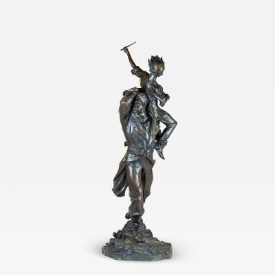 Truman Howe Bartlett A Fine Patinated Bronze Sculpture of a Soldier Carrying a Drummer