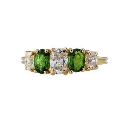 Tsavorite Garnet Diamond Gold Five stone Ring