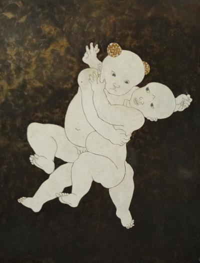 Tsuguharu Foujita Rare Lap Panel by L T Foujita circa 1928