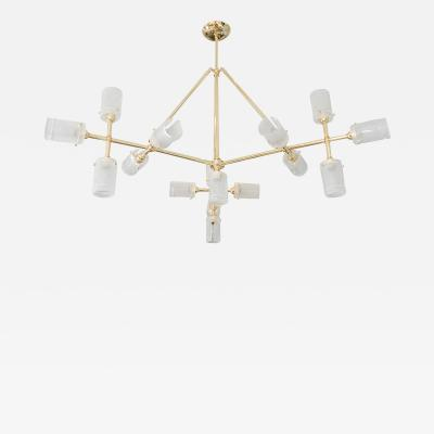 Tubular Brass Multi Arm Chandelier