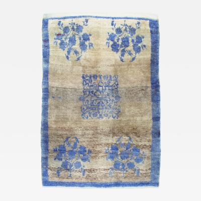 Tulu Rug with Blue Flowers and Border