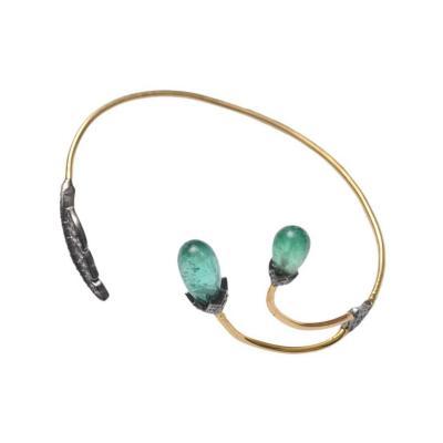 Tumbled Emerald Pav Diamond and 18 Karat Gold Wrap Bracelet