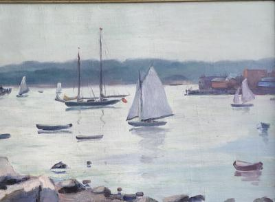 Tunis Ponsen Sailboats in the Harbor Glaucester