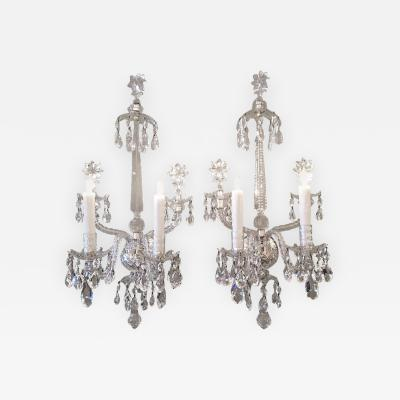 Turn of the Century Anglo Irish Crystal Sconces