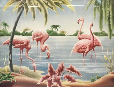 Turner Billy Seay 1922 2012 Airbrush Flamingos Hawaiian Art for Turner