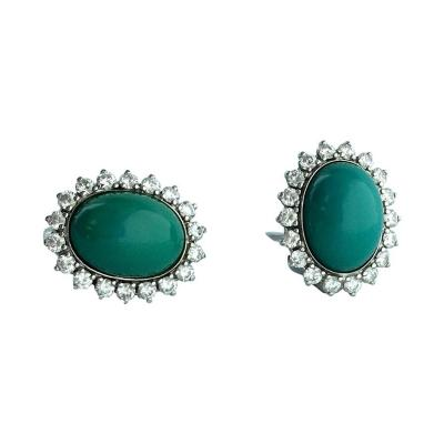 Turquoise Diamond White Gold Earrings