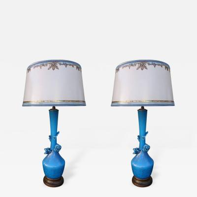 Turquoise Murano Lamps with Parchment Shades