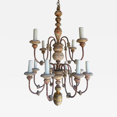 Twelve Light Italian Wood and Iron Painted Chandelier