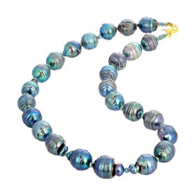 Twenty Five Rare Natural Blue Ocean Pearls Strand Necklace