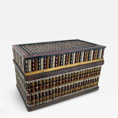 Twig Constructed and Paint Decorated Box Midwestern circa 1930