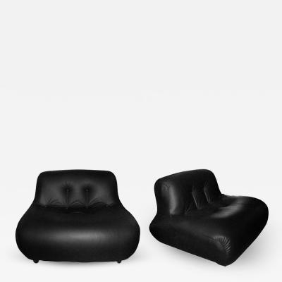 Two 1970 1980 leather armchairs by Bellini