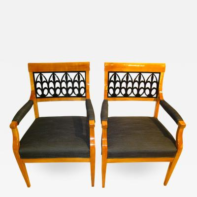 Two Biedermeier Armchairs Cherry Wood ca 1830