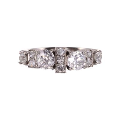 Two Center Diamond Platinum Ring