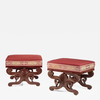 Two Classical Carved Mahogany Upholstered Stools