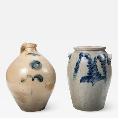 Two Cobalt Decorated Stoneware Vessels