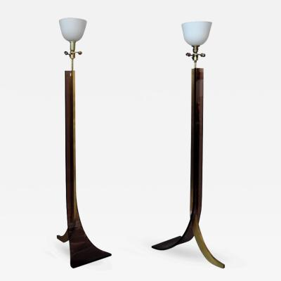 Two Fine French 1970s Brass and Plexiglass Floor Lamps