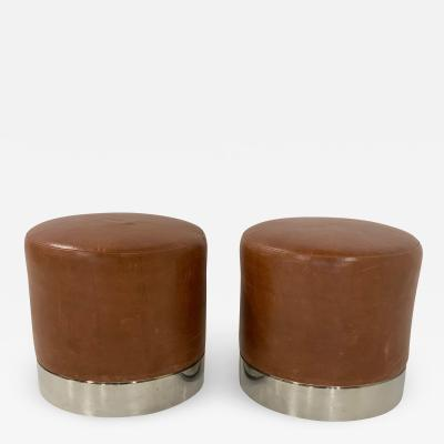 Two Modern Leather and Chrome Stools