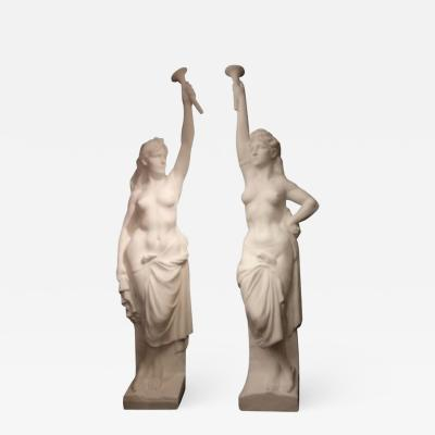 Two Monumental Nymphs in Plaster France circa 1940