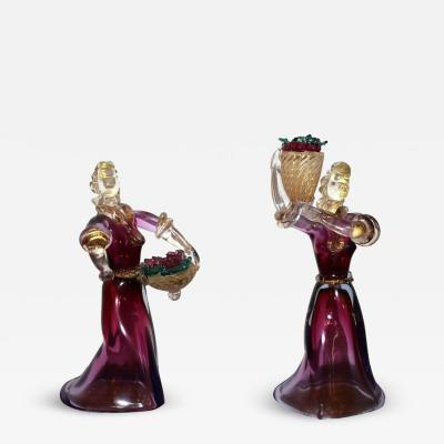 Two Murano Figurines Holding Baskets