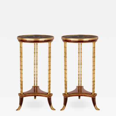 Two Neoclassical style marble gilt bronze and mahogany side tables