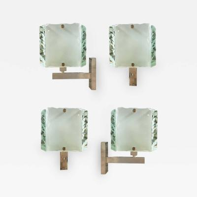 Two Pairs of Chiseled Glass Sconces by ZeroQuattro Italy 1960s