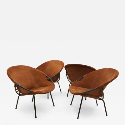 Two Pairs of Suede Mid Century Barrel Chairs
