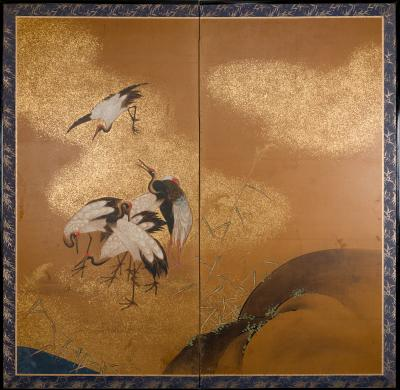 Two Panel Screen A Sedge of Cranes in a Rolling Landscape with Gold Dust Clouds
