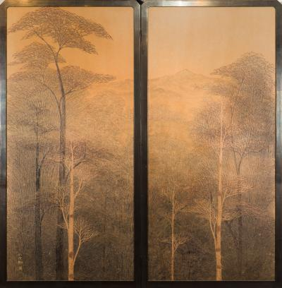 Two Panel Screen Autumn Forest with Mountain Rare Obara Paper Art Screen