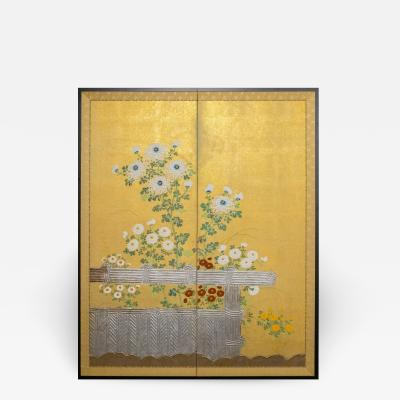 Two Panel Screen Rimpa Style Painting of Chrysanthemums on a Twig Fence