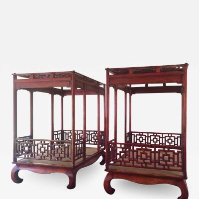 Two Red Carved Wood Canopy Day Beds With Optional Pillows a Pair