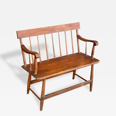 Two Seater Country Windsor Settee American 19th Century