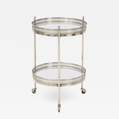 Two Tier Bar Cart in Polished Nickel