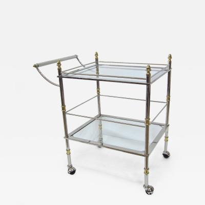 Two Tier Chrome and Brass Italian Rolling Serving Cart