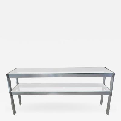 Two Tier Metal and Glass Console