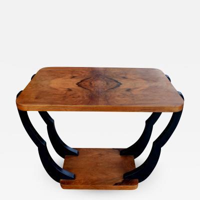 Two Tiered Art Deco English Walnut Coffee Table