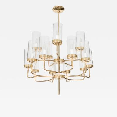 Two Tiered Brass and Glass Chandelier