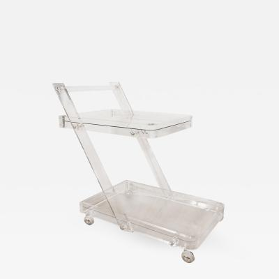 Two Tiered Lucite and Glass Bar Cart