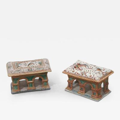 Two Tin Glazed Earthenware Majolica Salts Saliere