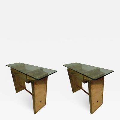 Two Unique Italian Postmodern Gilt and Copper Cantilevered Consoles Sofa Table