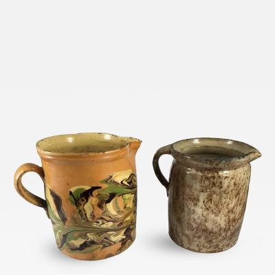 Two Very Large French Provincial Jaspe Pitchers 19th Century