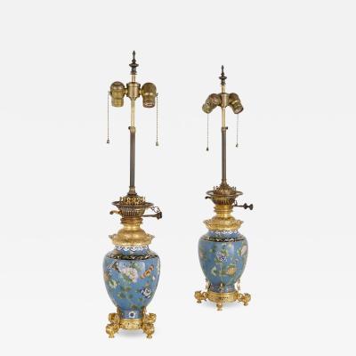 Two antique cloisonn enamel and gilt bronze lamps