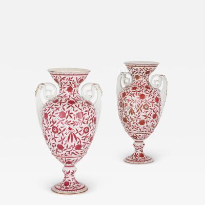 Two antique painted porcelain vases