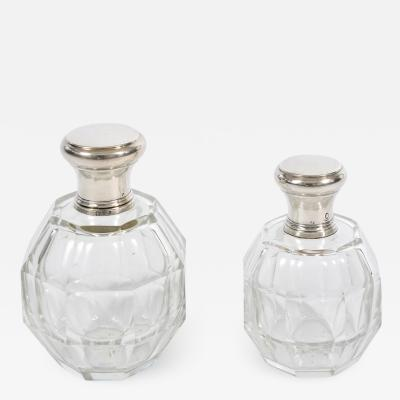 Two glass and silver scent bottles